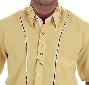 Designerhemd in Gelb, für Herren BESTE QUALITÄT, HK Mandel Freizeithemd Kurzarm Normal Nicht Tailliert, 2019