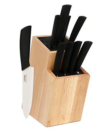 Melange 10-Piece Black Handle and White Blade Ceramic Knife Set with 2-Tier Black Wood Universal Knife Block