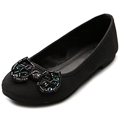 Ollio Women's Ballet Shoe Low Heel Cute RhineStone Flat(6.5 B(M) US, Black)