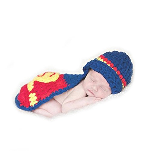 Baby Newborn Boy Girl Little Superman Crochet Cotton Knit Costume Photo 0-3 Months