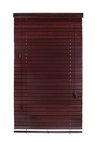 "Luxr Blinds Custom-Made 100% Real Wood 2"" Slats Venetian Blinds: Easy-Mount Horizontal Window Treatment with Magnetic Valences- 31""X64"" Length, Mahogany"