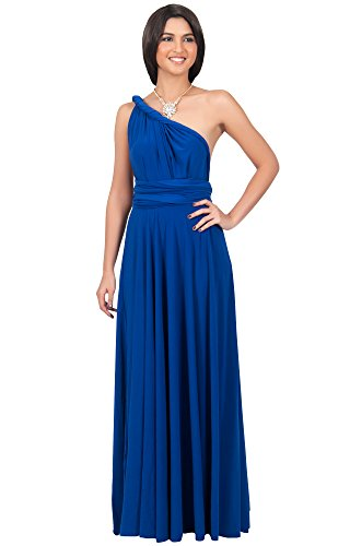 KOH KOH Womens Long Bridesmaid Convertible Wrap Cocktail Gown Maxi Dress, Color Cobalt / Royal Blue, Size Large / L / 12-14 (Cobalt Blue Bridesmaid Dresses compare prices)