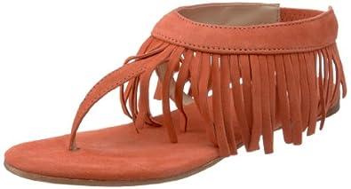 Butter Women's Arrow Fringe Thong Sandal,carrot suede,6.5 M US