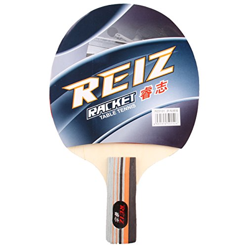 Reiz 2101 Short or Long Handle Ping Pong Paddle Table Tennis Racket with Case