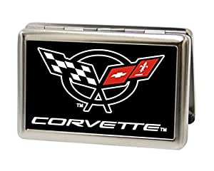 Amazoncom chevrolet corvette logo black white red for Corvette business card holder