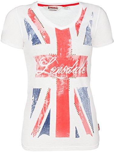 Lonsdale - T-shirt ALDERSHOT, Camicia di maternità Donna, Bianco (Weiß), Large (Taglia Produttore: Large)
