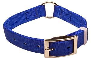 Nite Lite Premium Dog Gear,  COLLAR 1 Inch, NYLON, Ring In Center, BLUE, 27 Inch