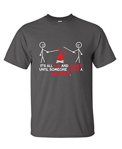 It's All Fun And Games Until Someone Looses A Weiner Funny T Shirt XL Charcoal