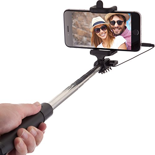 Power Theory Selfie Stick [No Bluetooth] for iPhone 6S 6 Plus 5 5s 5c + Samsung Galaxy S7 S6 S5 S4 S3 Android/Apple Phones (Black)