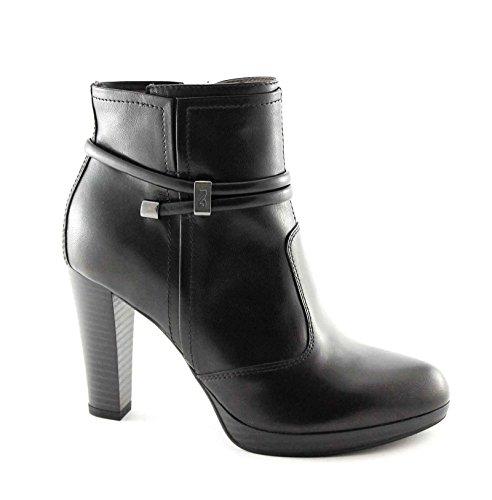 NERO GIARDINI 15955 nero stivaletti donna pelle tronchetti zip tacco 36