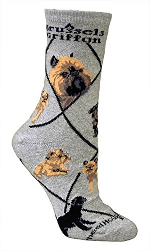 Brussels Griffon Gray Cotton Dog Novelty Socks for Adults 9-11