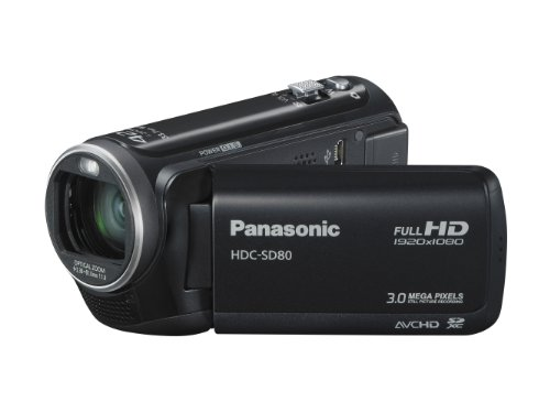 Panasonic SD80 Full HD Camcorder - Black (SD Card Recording, x42 Intelligent Zoom, x37 Optical Zoom, Wide Angle Lens  &  iA + Face Recognition  &  New Hybrid OIS)