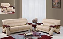 Hot Sale Global Furniture Usa 2033-Cap 3 Piece Bonded Leather Living Room Set In Cappuccino