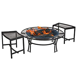 CobraCo Steel Mesh Rim Fire Pit and Two Bench Set  with Screen and Cover FB6400-750