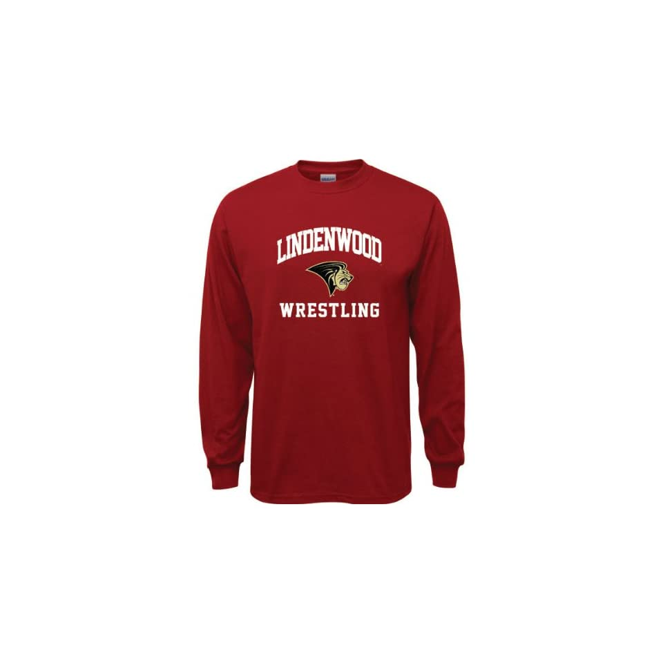 Lindenwood Lions Cardinal Red Youth Wrestling Arch Long Sleeve T Shirt