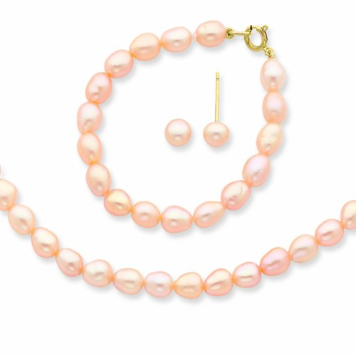 14k Pink Fw Cultured Pearl 12 In. Necklace, Bracelet & Earrings Set