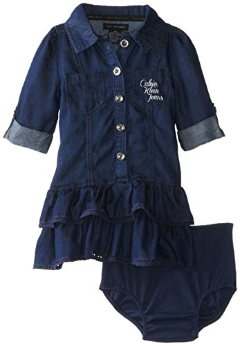Calvin Klein Baby-Girls Infant Roll Up Sleeve Dark Denim Dress With Ruffles, Blue, 18 Months