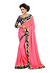 Fashion205 Women Faux Georgette Saree (OCO-AR8-1065_Pink_Pink_Free Size)