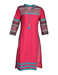 Global Women's Cotton Straight Kurta (GW76PinkL015, Pink, L)