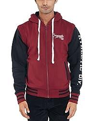 Parx Men's Cotton Blend Sweatshirt (8907249755482_XMKF02538-R8_44_Dark Red)