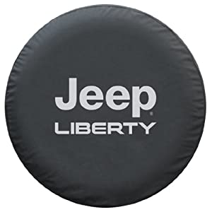 SpareCover® Brawny Series - Tire Cover - Silver Metallic logo on Black Denim - Jeep Liberty 30