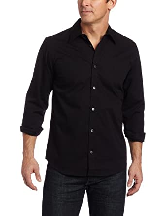 Calvin Klein Sportswear Men's Solid Stretch Free Fit Woven Shirt, Black, Small