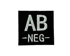 Patch ecusson brodé airsoft tactical militaire groupe sanguin thermocollant noir - AB-