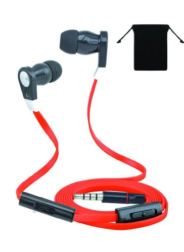 Super Bass 3.5Mm Stereo Headset Earphones Headphones W/ Microphone For Lg G2 (Red/ Black) And W/ Volume Control + Carry Bag