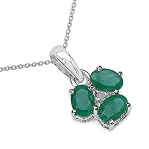 1.35 Carat Genuine Emerald and 0.00 CT TDW Genuine Diamond 925 Sterling Silver Pendant