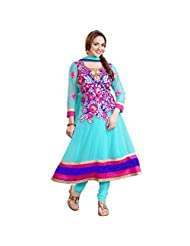 Shreevas Sea Blue Faux Georgett Anarkali Suit Material With Embroidery Work | STL105