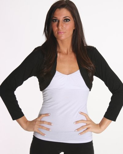 Black Bolero Shrug Tops with Long Sleeves SC31003