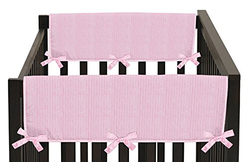 Sweet Jojo Designs Pink Chenille and Satin Teething Protector Cover Wrap Baby Crib Side Rail Guards - Set of 2 (Bed Rail Replacement Cover compare prices)