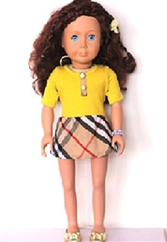 Salsy Fit 18 Inch Doll Summer Dress Stylish Yellow and Plaid - 1