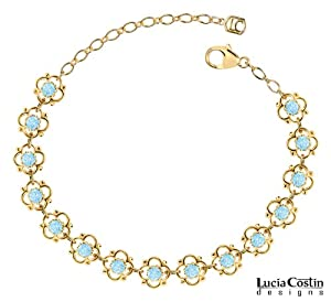 Victorian Style Flower Bracelet by Lucia Costin with 15 Linked Flowers Surrounded by Light Blue Swarovski Crystals; 24K Yellow Gold over .925 Sterling Silver