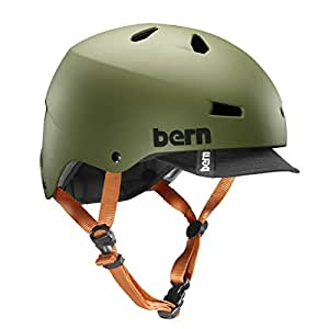 Bern Macon Summer Matte EPS Helmet with Visor,Small/Medium,Matte Olive Green