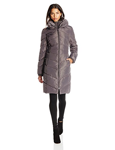 Jessica Simpson Women's Long Chevron Down Coat with Hood, Charcoal, Medium (Jessica Simpson Quilted compare prices)