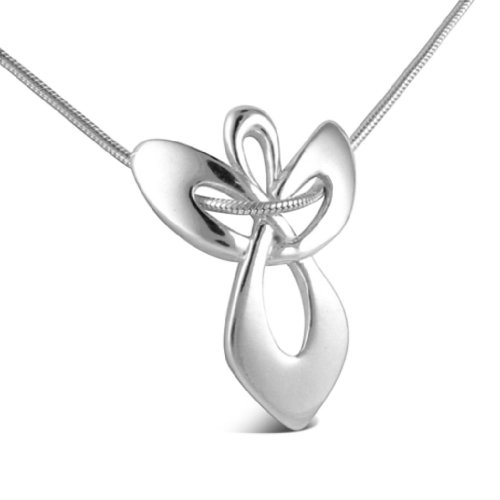 Sterling Silver Guardian Angel Gift Pendant on Snake Chain Necklace: Jewelry