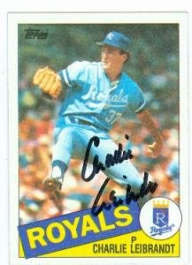 Charlie Leibrandt autographed Baseball Card (Kansas City Royals) 1985 Topps #459 (67)