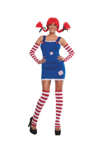 Starline Women's Sexy Long Stockings Costume with Wig, Blue, Small