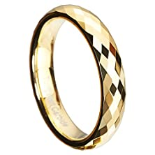 buy Queenwish 4Mm Gold Plated Tungsten Wedding Bands Multi-Faceted Prism Cut Engagement Ring Size 6.5