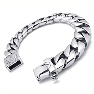 KONOV Jewelry Stainless Steel Mens Bracelet, Silver, 8.66 Inch (with Gift Bag)