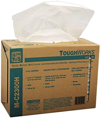Hospeco TaskBrand Scrimtask GS-C4302, White, 4-Ply Tissue and Scrim to provide Extra Strength. Exceptional Wipe Dry for cleaning of Glass and Smooth Surfaces. (6 Iboxes of 150) )