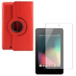 DMG PU Leather 360 Degrees Rotating Stand Case for Asus Google Nexus 7 1st Generation 2012 (Red) + Matte Anti-Glare Screen Protector