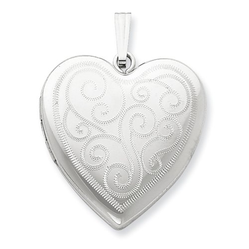 Sterling Silver 24mm Swirl Design Heart Locket