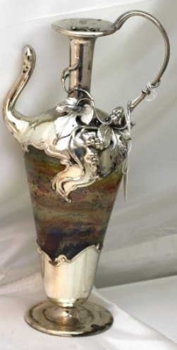 Decorative Bottles, Vases Mouth Blown Glass and Sterling Silver 9.5