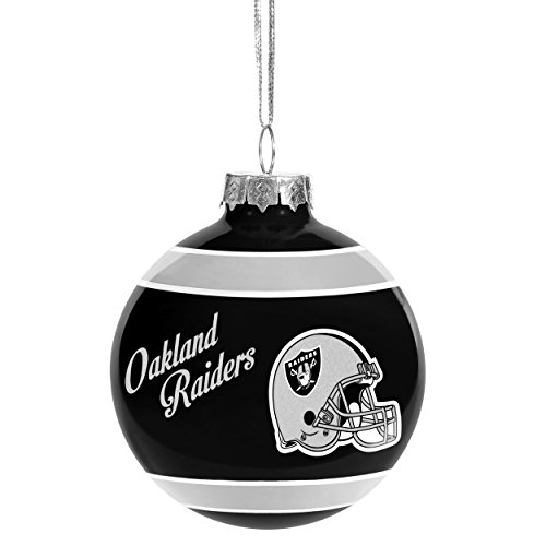 Christmas Holiday Glass Ball Ornament - Oakland Raiders