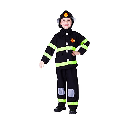 Boys Size 12/14 Black Fire Fighter Halloween Costume Outfit Set