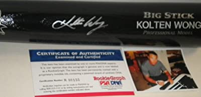 Kolten Wong St Louis Cardinals PSA DNA ROOKIE COA Autographed Signed Black Baseball Bat