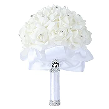 Wedding Bouquet, Febou Big Size White Bridesmaid Bouquet Bridal Bouquet with Crystals Soft Ribbons, Artificial Rose Flowers for Wedding, Party and Church (White Big Size)