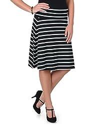 Brinley Co. Juniors Comfort Striped A-Line Skirt